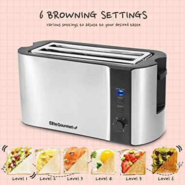 """Elite Platinum ECT-3100 Cool Touch Long Slot Toaster with Extra Wide 1.25"""" Slots for Bagels, 6 Settings, Space Saving Des"""