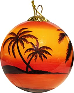 Hand Painted Glass Christmas Ornament - Sunset Palms Sarasota