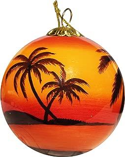Art Studio Company Hand Painted Glass Christmas Ornament - Sunset Palms Key West