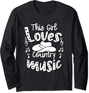 Funny Cowgirl Hat Music Lover This Girl Loves Country Music Long Sleeve T-Shirt