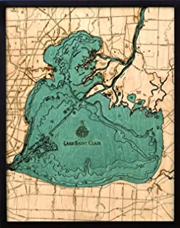Lake St. Clair, Michigan 3-D Nautical Wood Chart, 24.5