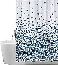 ANSIO Cortina de Ducha Resistente al Moho, poliéster, Patrón de Mosaico, Color Azul, Pack Individual