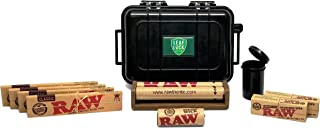 RAW King Size Slim Rolling Papers (4 Packs), Perforated Gummed Tips (2 Packs), 110mm Rolling Machine, 20ft Hemp Wick, Small Pop Top Storage Container, Leaf Lock Gear Travel Case - 10 Items - Bundle