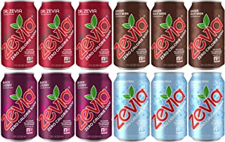 Zevia Soda Zero Calorie (12 pack) Ginger Root Beer, Black Cherry, Caffeine Free Cola, Dr. Zevia