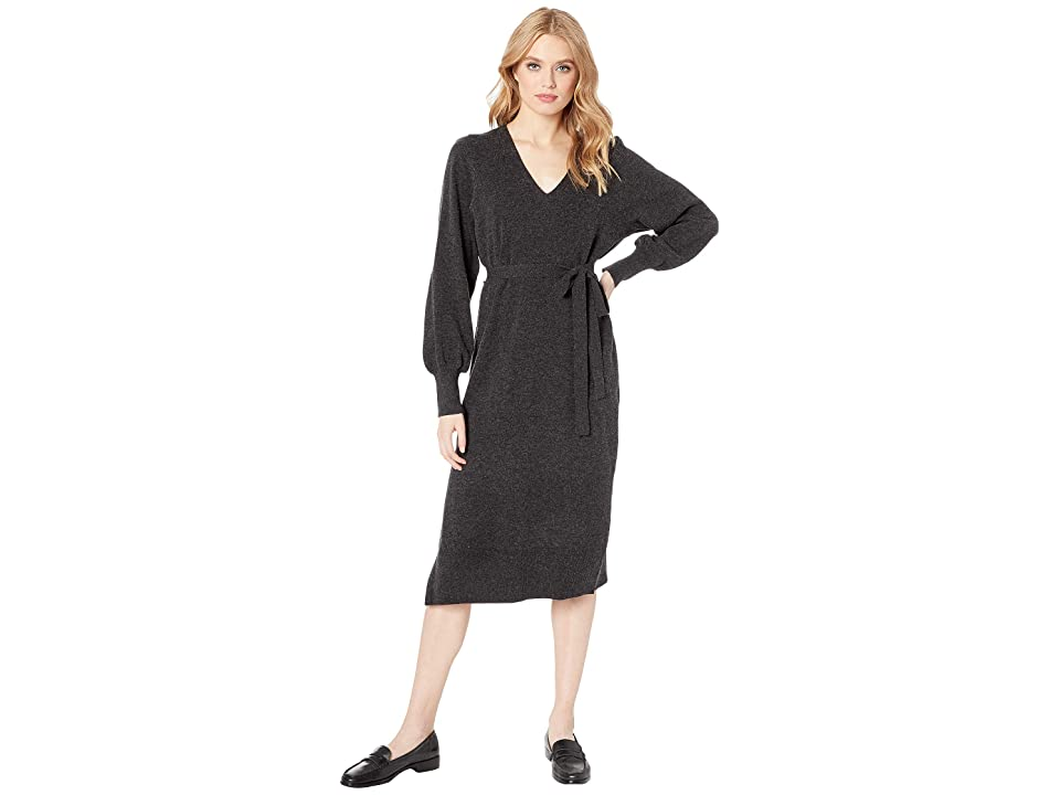 Lucky Brand V-Neck Sweater Dress (Charcoal) Women