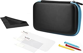 Amazonbasics Carrying Case for New Nintendo 2DS XL With 3 Stylus Pens And 2 Screen Protectors - 7 x 4 x 2 Inches, Black With Blue Trim