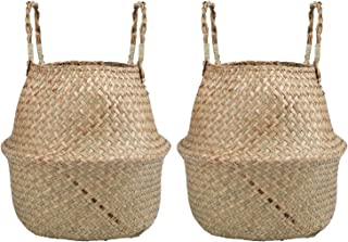 Yesland 2 Pack Woven Seagrass Plant Basket with Handles, Ideal for Storage Plant Pot Basket, Laundry, Picnic, Plant Pot Co...