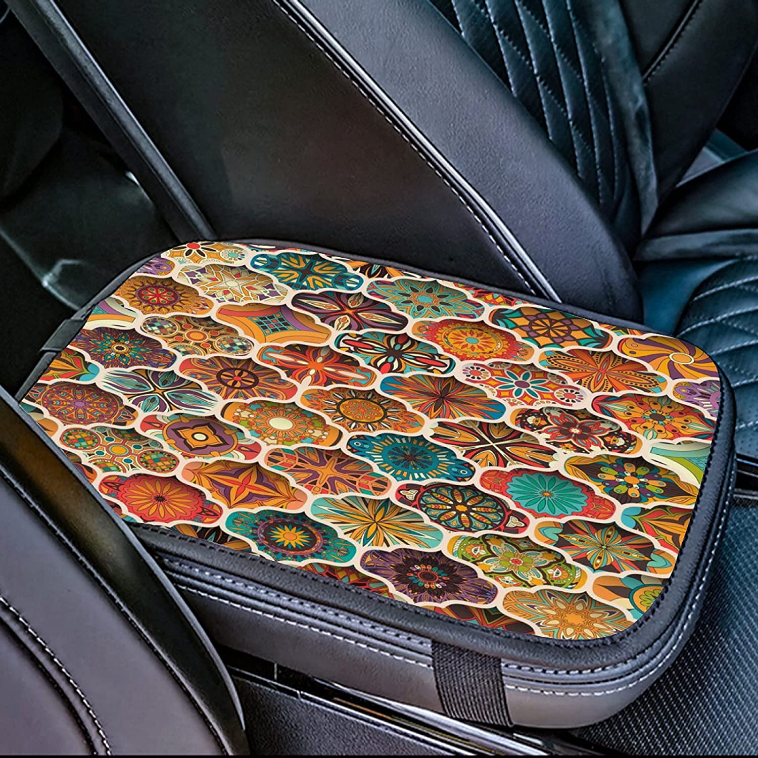 OcuteO Memphis Mall Sea Stars and Shells On Wooden Fees free Car Console Center Ar Teal