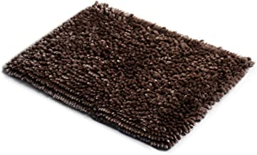 MICRODRY SoftGloss Shiny Absorbent Shag Chenille Memory Foam Bath Mat with GripTex Skid-Resistant Base (17x24, Chocolate)