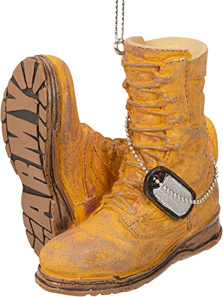 Midwest CBK Army Boot Military Brown Resin Stone 3 X 3 Christmas Decorative Hanging Ornament