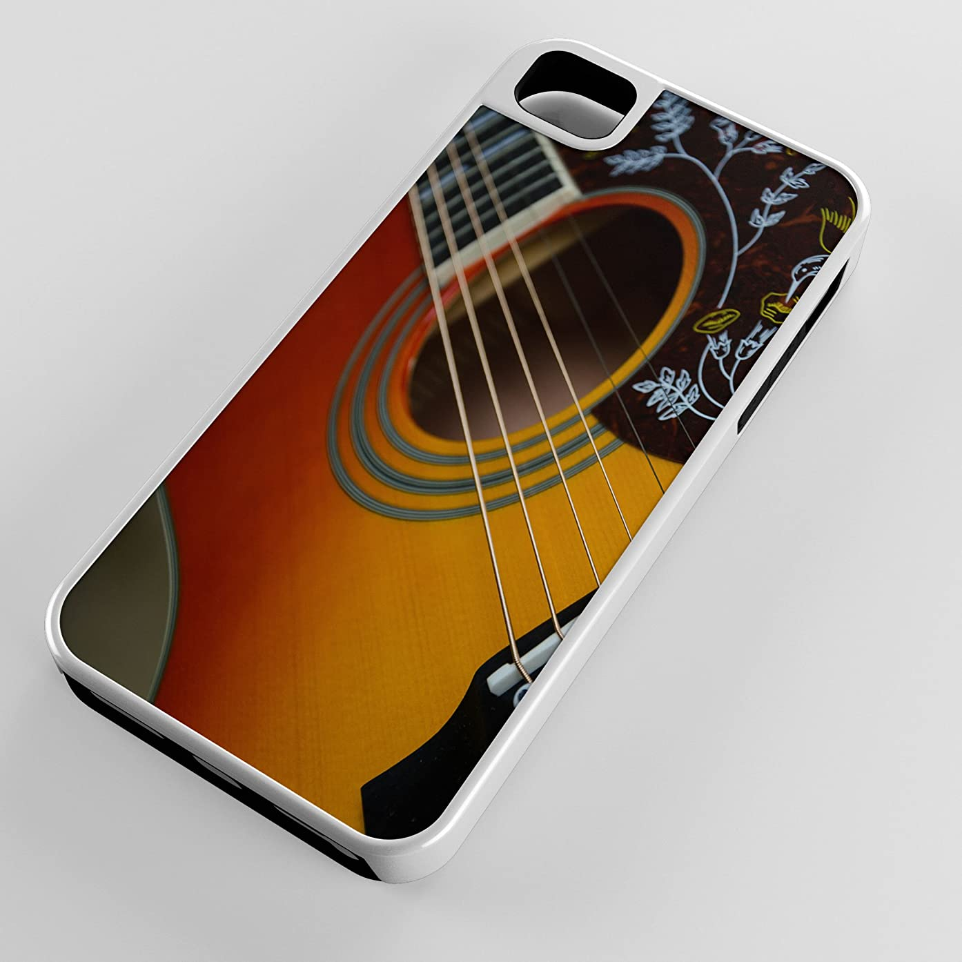 iPhone Case Fits Apple iPhone 5c Hybrid Tough Case Picking And Grinning Acoustic Guitar White Plastic Black Rubber