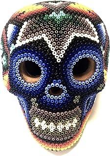 Serendipia Handmade Huichol Art Clay Skull Original Mexican Art.