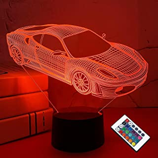 Car 3D Night Light for Kid, Sports Racing Illusion Laser Bedside Lamp 16 Color Changing with Remote Control Dim Bedroom De...