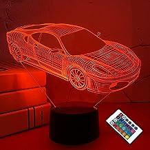 Auto 3D Nachtlampje, Sport Racing Auto Illusie Lamp met Afstandsbediening 16 Kleuren Veranderen, Vakantie Xmas Verjaardags...