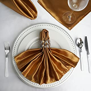 BalsaCircle 50 pcs 20-Inch Antique Gold Satin Dinner Napkins - for Wedding Party Reception Events Restaurant Kitchen Home