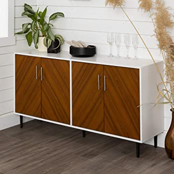 """Walker Edison Furniture Company Mid Century Modern Bookmatched Universal Stand for TV's up to 64"""" Living Room Storage Entertainment Center, 58 Inch, White"""