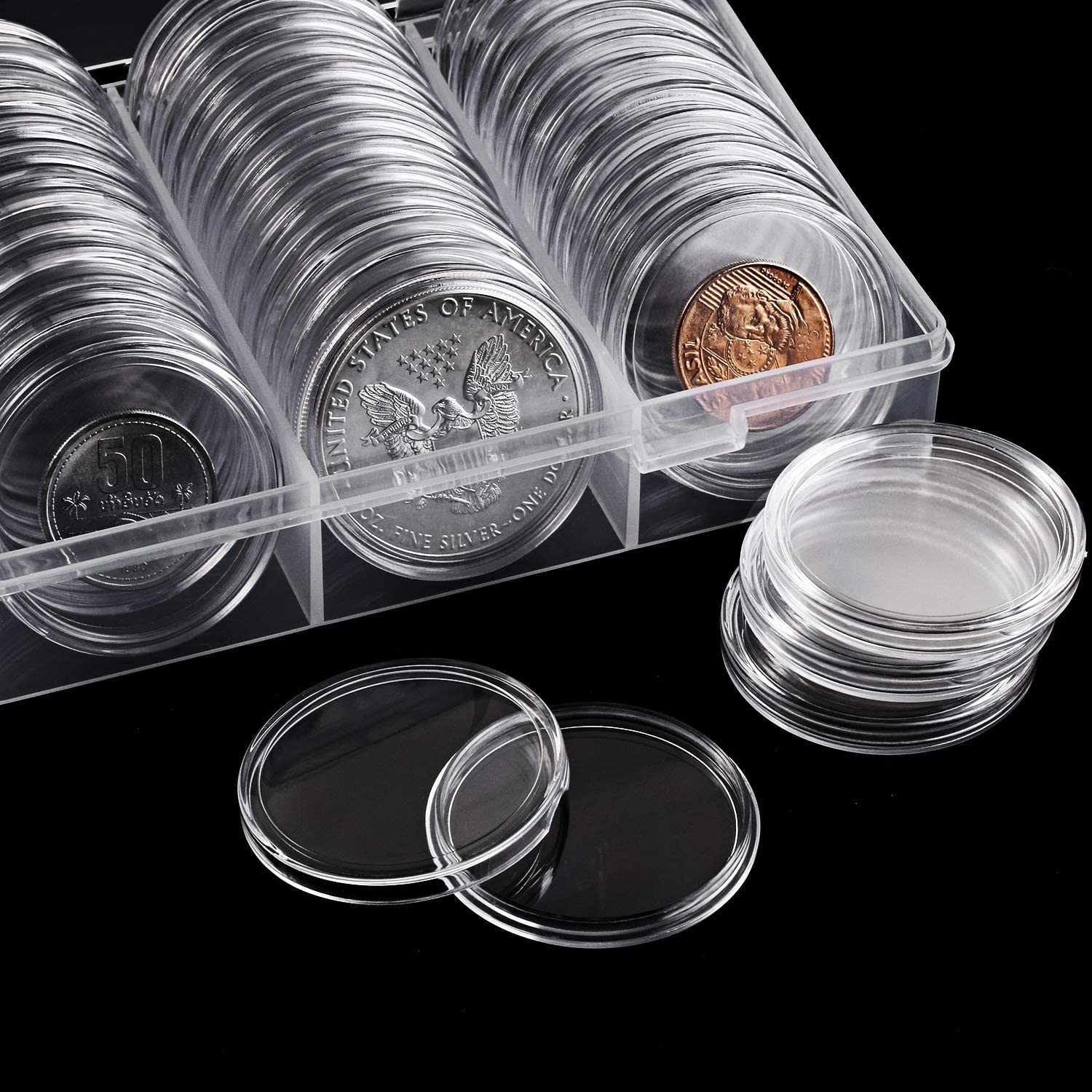 40 mm Silver Coin Holder Coin Case Coin Capsules Storage Container with Storage Organizer Box for Coin Collection Supplies (60 Pieces) : Office Products