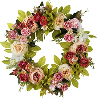 Emlyn Daisy Silk Spring And Summer Front Door Wreath 16 Inches - Brightens Front Door Decor With Vibrant Beautiful Colors, All Weather Outdoor Wreath That Lasts For Years- Pink