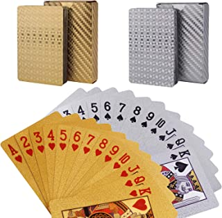 Weensmeil Waterproof Playing Cards Novelty, 52+2 Foil Poker Cards Deck - Classic Magic Tricks Tool for Party and Table Game (1 Gold + 1 Silver)