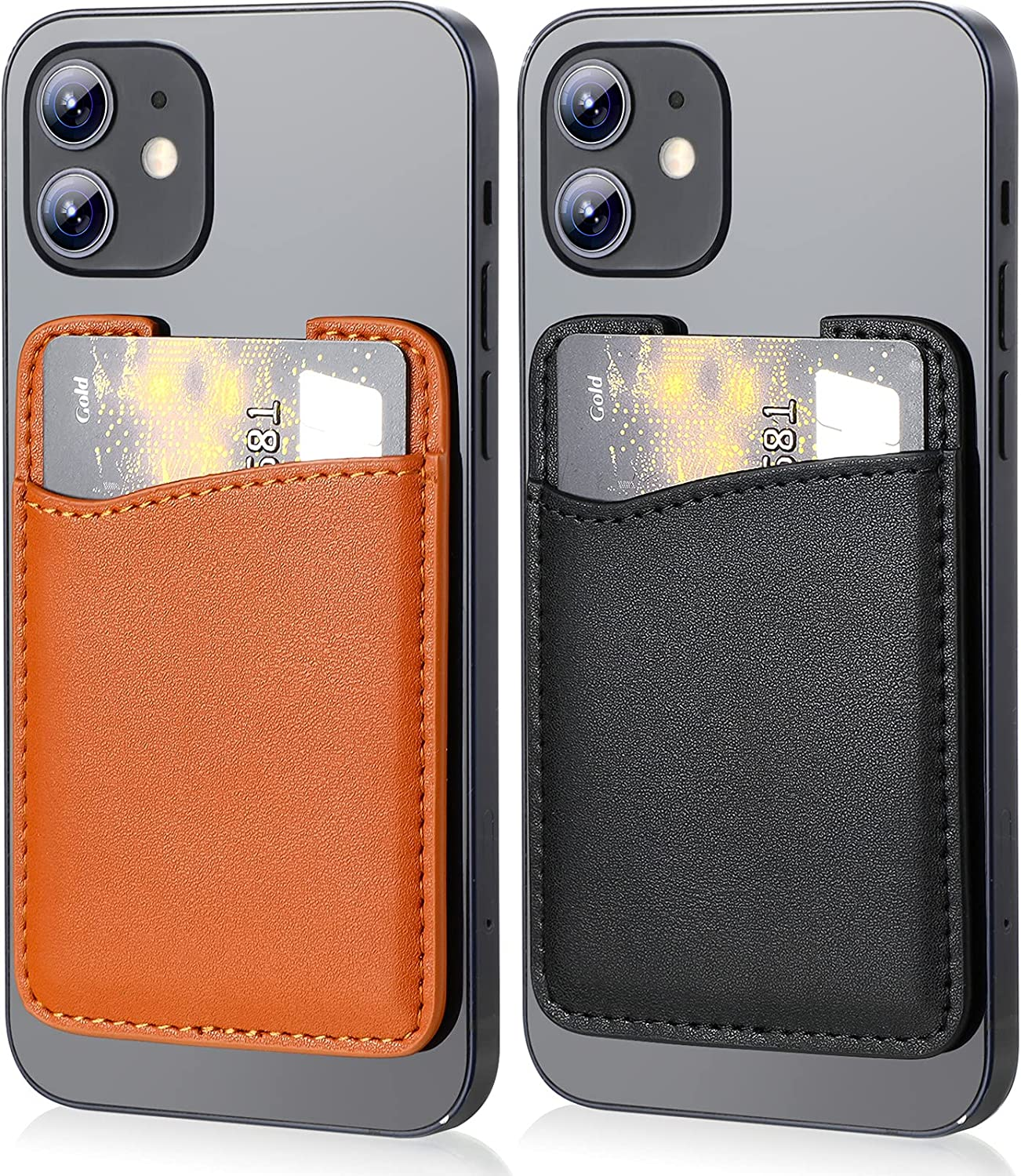 2 Pieces Genuine Leather Phone Card Holder Stick On Credit Card Sleeves Stick on Phone Card Pocket Holder Wallet Cell Phone Card Pocket Card Pouch Sleeve for Phone and Most Smartphones (Black, Brown)