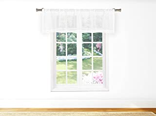 Bathroom and More EDITH Collection Pure White Sheer Window Curtain Valance with Metallic Silver Diamond Design (Single (1) Valance 58in W x 15in L)