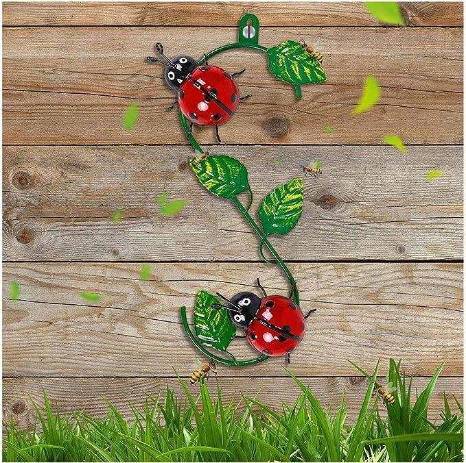 Amazon.com: SLQX New Metal Ladybug Garden Decoration, 11.8 Inches Insect Metal Outdoor Wall Art Garden Art with Vines, Outdoor Wall Decor Yard Decor Metal Art Backyard Decoration Metal Yard Art (Ladybug) : Patio, Lawn & Garden