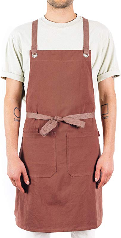Caldo Crossback Kitchen Apron Mens And Womens Professional Chef Bib Apron Adjustable Crossback Style Midweight Cotton Terracotta