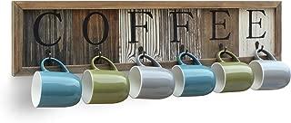 HBCY Creations Rustic Coffee Mug Rack Wall Mounted, Printed Coffee Sign - 6 Coffee Cup Hooks - Wooden Coffee Mug Display and Organizer - Distressed Coffee Rack Sign (31.5