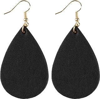 Teardrop Earrings Genuine Leather Petal Star Round Drop Dangle Earrings Lightweight Fashion Gift for Women Girls