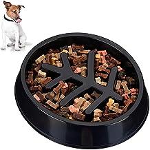 Relaxdays Anti-slingnap, middelgrote en grote honden, kunststof, antislip, langzaam eten, voederbak 500 ml, zwart