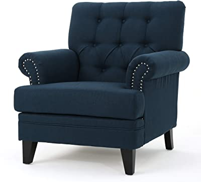 Christopher Knight Home Anthea Traditional Fabric Club Chair, Navy Blue / Dark Brown
