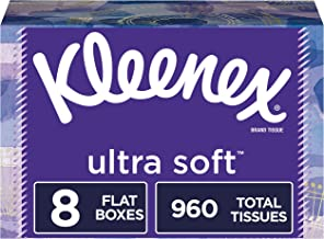 Kleenex Ultra Soft Facial Tissues, 8 Rectangular Tissue Boxes, 120 Tissues per Box (960 Tissues Total)