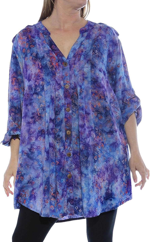 We Be Bop Womens Batik Plus Size Dreamy Night Katherine Blouse