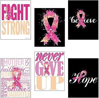 Fun Express - Pink Ribbon Inspirational Poster Set - Party Decor - Wall Decor - Cutouts - 6 Pieces