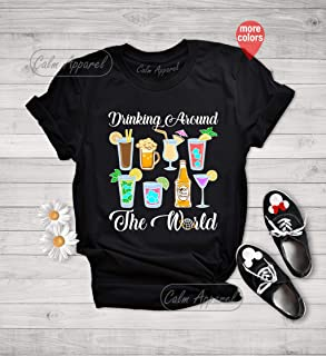 Drinking Around the World T-Shirt, Drinking Graphic Tee, Food and Wine Festival Shirt, Traveler Gift Outfits