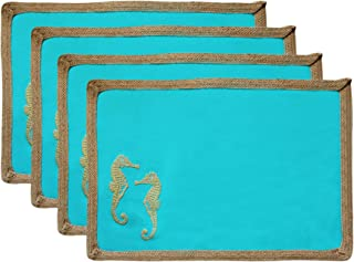 Contempo Lifestyles Washable Cotton Placemats – Set of 4 Decorative Beach Themed Placemats – 13 x 19 Inch Size – Navy, Coral, Aqua – Marine Sea Creatures Cute Design – Ideal for Party, Family Dinner