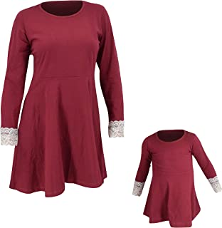 Womens Christmas Skater Cocktail Dress Matching Mommy and Me Red