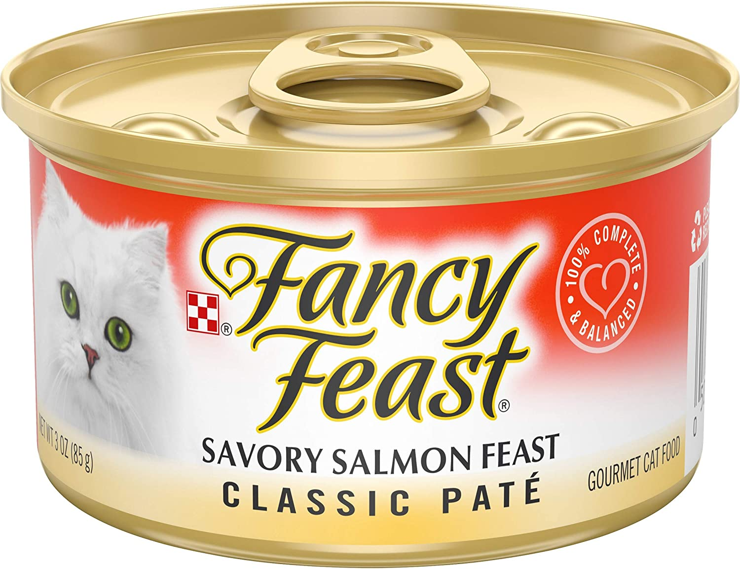 Purina Fancy Feast Grain Free Pate Wet Cat Food, Classic Pate Savory Salmon Feast - (24) 3 oz. Cans