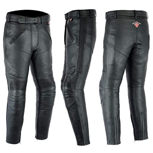 2c508c168e1349 Texpeed Ladies Cowhide Leather Motorcycle Trousers With Removable CE Armour