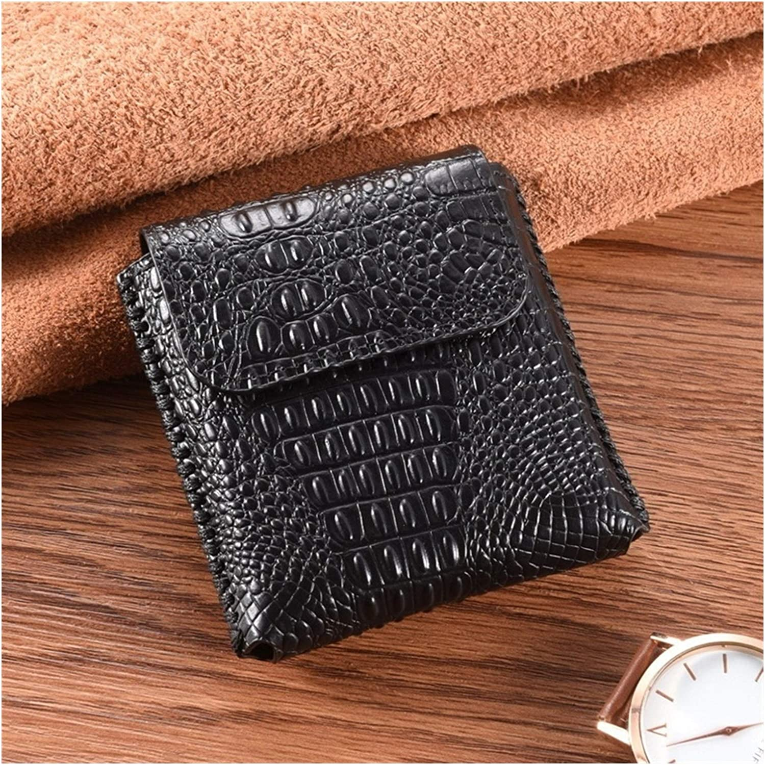 Zhusha Men Cellphone Genuine Leather Waist Bag Belt Clip Pouch Business Leather Cover for Samsung Galaxy Z Flip F700F F700U1 F700U F707B F707U F707U1 F707W (Color : Black A)