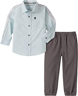 CALVIN KLEIN Baby-Boys 2 Pieces Shirt Pants Set Pants Set - Multi - 3-6 Months
