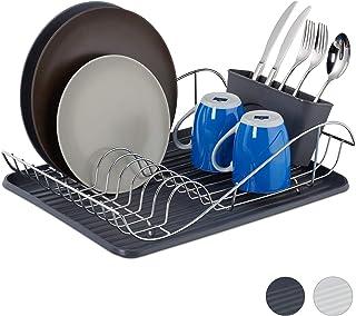 relaxdays Escurreplatos de Cocina, Escurridor Cubiertos, Bandeja Goteo, Plástico-Metal, 1 Ud, 12,5 x 49 x 32 cm, Gris