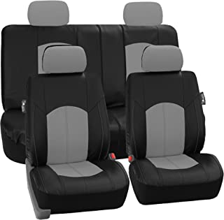 FH Group Limited TIME ONLY PU008114 Perforated Leatherette Full Set Car Seat Covers, (Airbag & Split Ready), Gray/Black Color - Fit Most Car, Truck, SUV, or Van