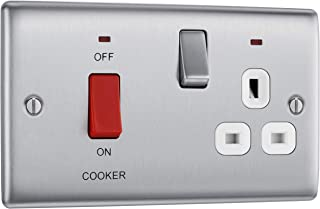 BG Electrical Double Pole Cooker Control Unit with Single Socket and Power Indicator and White Inserts, 45 Amp, Brushed Steel