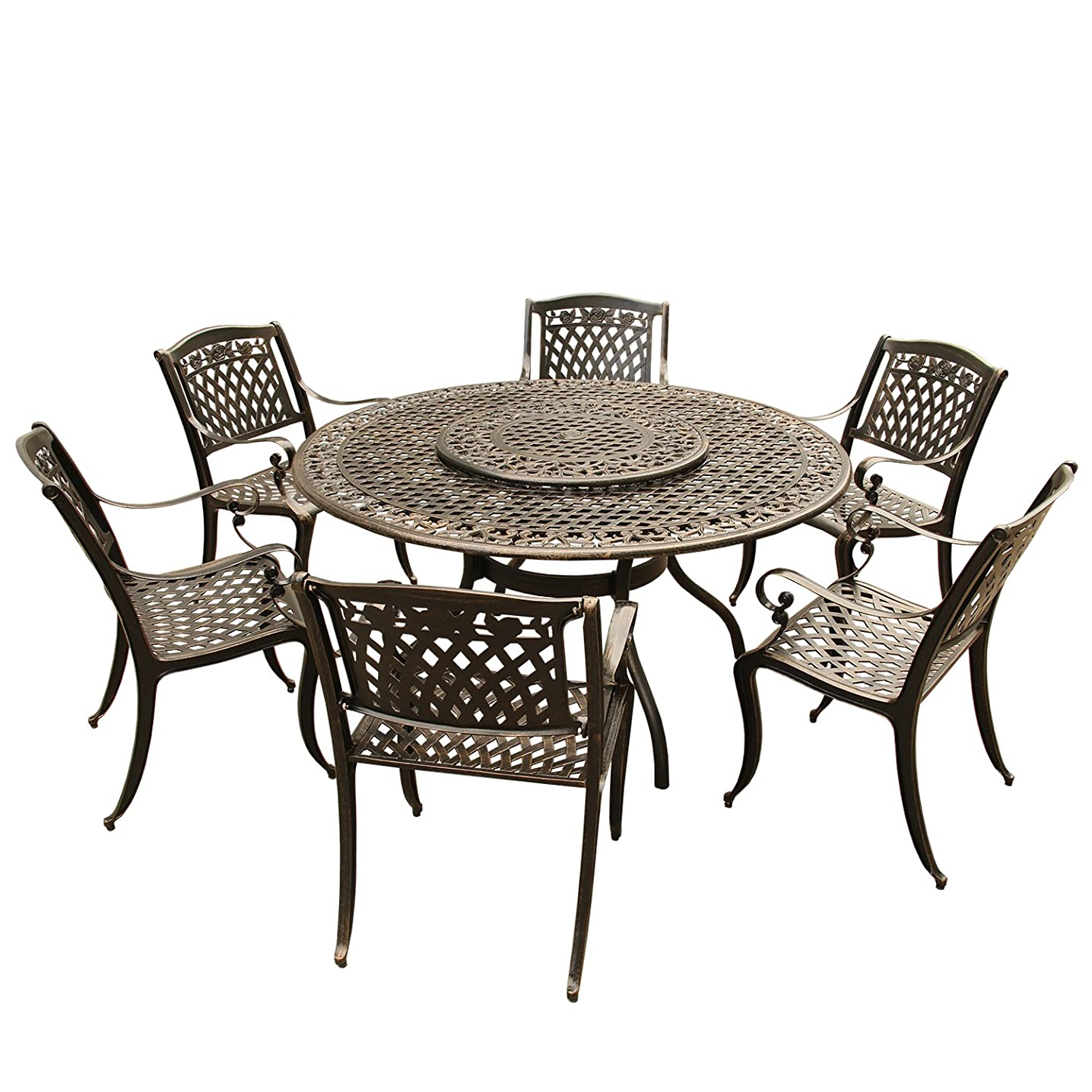 Oakland Living AZ2555-1855(6)-BZ Outdoor Aluminum Dining Set, Bronze