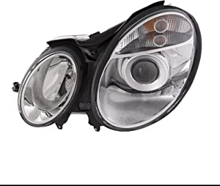 HEADLIGHTSDEPOT Chrome Housing Halogen Headlight Compatible with Mercedes-Benz E-Class E320 E350 E500 E55 AMG 2003-2006 Includes Left Driver Side Headlamp