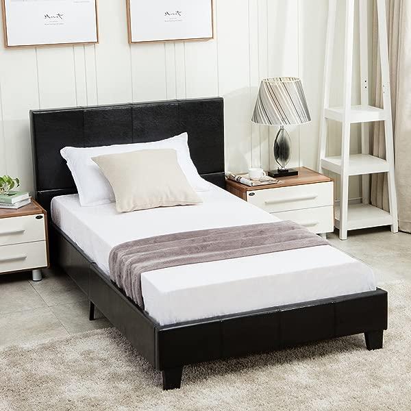 Dehors Sun Full Size Platform Bed Metal Square Frame Upholstered Headboard Stitched Button Wooden Slats Not Support Mattress Black