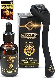 Beard Growth Kit - Derma Roller for Beard Growth .5mm + Beard Growth Serum Organic Oil + Extensive Guide - Microneedle Beard Roller for Hair Growth Men - Stimulate Beard Growth - Free Storage Case