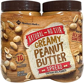 2-Pack Member Mark Natural No Stir Creamy Peanut Butter Spread