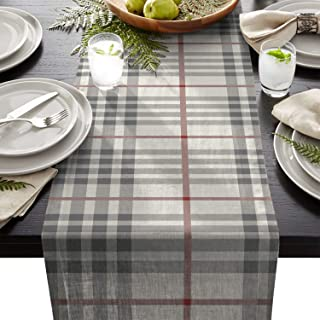 ARTSHOWING Rustic Table Runner Grey Ivory Red Buffalo Check Plaid Rectangular Runner for Party Decoration Wedding Baby Shower Birthday Bachelor Party Holiday Party Event, 13x90 Inch